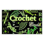 Crochet Green Rectangle Sticker 10 pk)