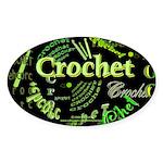 Crochet Green Oval Sticker (10 pk)