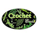 Crochet Green Oval Sticker
