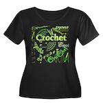 Crochet Green Women's Plus Size Scoop Neck Dark T-