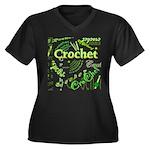 Crochet Green Women's Plus Size V-Neck Dark T-Shir