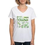 Crochet Green Women's V-Neck T-Shirt