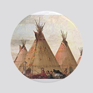tepee home house Round Ornament