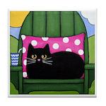 Black CAT on Adirondack Chair ART Tile