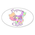 Fuyuan China Map Oval Sticker (10 pk)