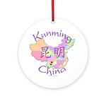 Kunming China Map Ornament (Round)