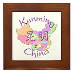 Kunming China Map Framed Tile