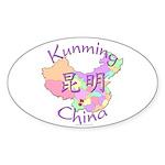 Kunming China Map Oval Sticker (10 pk)