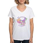 Kunming China Map Women's V-Neck T-Shirt