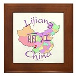 Lijiang China Map Framed Tile