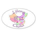 Lijiang China Map Oval Sticker (10 pk)