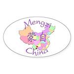 Mengzi China Map Oval Sticker (10 pk)