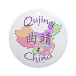 Qujing China Map Ornament (Round)