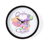 Qujing China Map Wall Clock