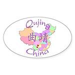 Qujing China Map Oval Sticker (10 pk)