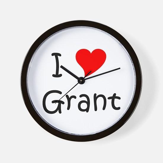 Cute I heart grant Wall Clock
