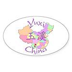 Yuxi China Map Oval Sticker (10 pk)