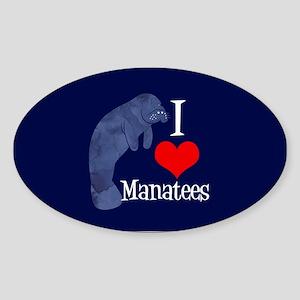 Cute Manatee Sticker (Oval)