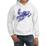 Snowmobiler in Blue Camoflage Hooded Sweatshirt