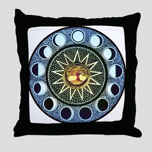 Moon Phases Mandala Throw Pillow