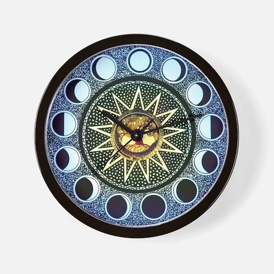 Moon Phases Mandala Wall Clock