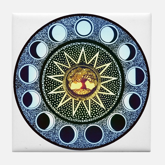 Moon Phases Mandala Tile Coaster