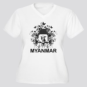 Buddha Myanmar Women's Plus Size V-Neck T-Shirt
