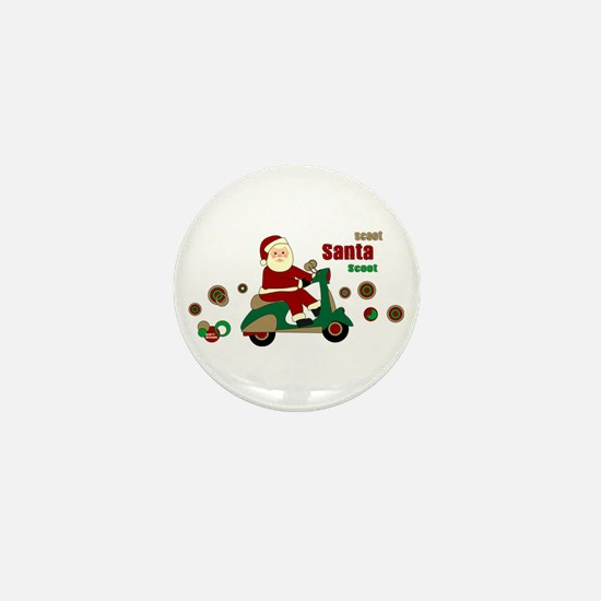 Scootin Santa Mini Button