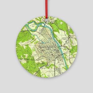 Vintage Map of Fredericksburg Virgi Round Ornament