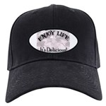 Funny Kitchen Quotes Black Cap with Patch