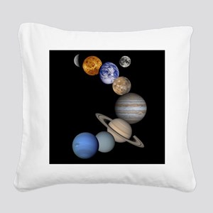 Our Solar System planets Square Canvas Pillow
