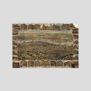 Vintage Pictorial Map of Portland Oreg 4' x 6' Rug