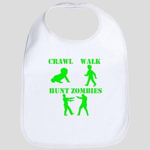 Crawl Walk Hunt Zombies Baby Bib