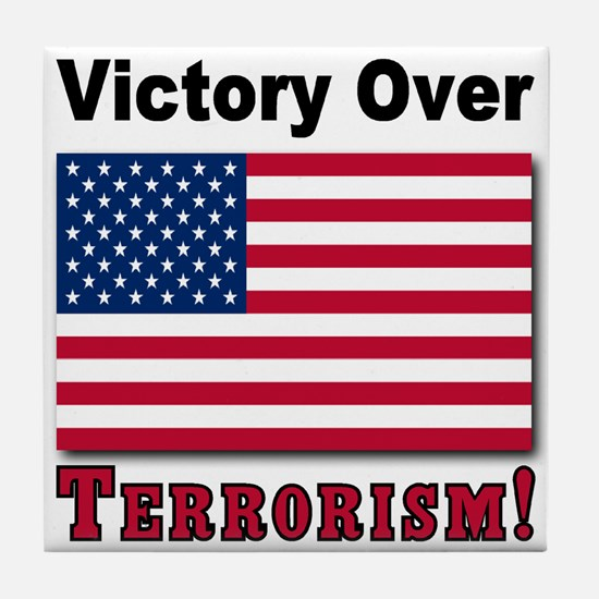 Victory Over Terrorism USA Flag Tile Coaster