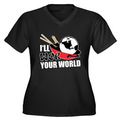 I'll Wok Your World Women's Plus Size V-Neck Dark