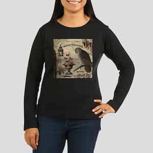 Modern Vintage Halloween Owl Long Sleeve T-Shirt
