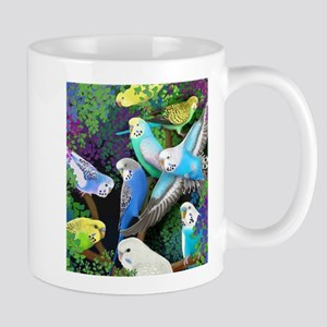 Budgerigars in Ferns Stainless Steel Travel Mugs