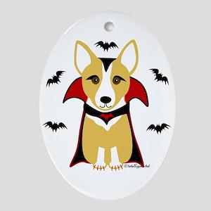 Count Corgi - Vampire Oval Ornament
