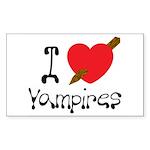 I Love Vampires Rectangle Sticker