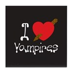 I Love Vampires Tile Coaster