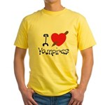 I Love Vampires Yellow T-Shirt