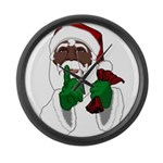 African Santa Clause Christmas Large Wall Clock