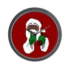 African Santa Clause Christmas Wall Clock