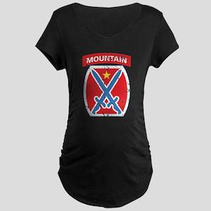 10th Mountain - Distressed Maternity Dark T-Shirt