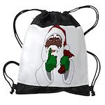 African Santa Clause Drawstring Bag