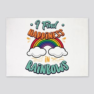 Gay Pride Lesbian I find Happiness 5'x7'Area Rug