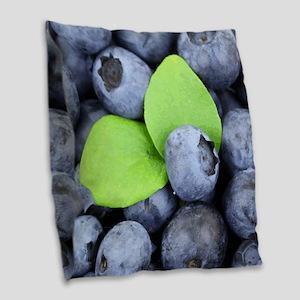 Blueberries & Leaves Burlap Throw Pillow