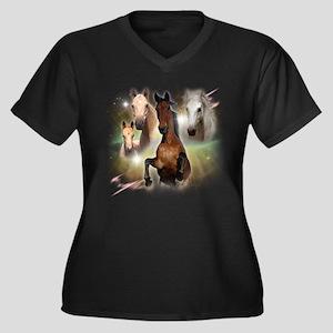 Celestial Horses Women's Plus Size V-Neck Dark T-S