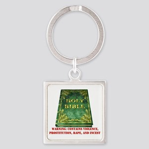 Bible Warning Square Keychain
