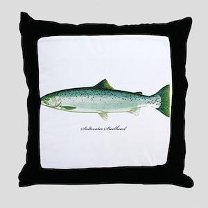Wild Saltwater Steelhead Fish Throw Pillow